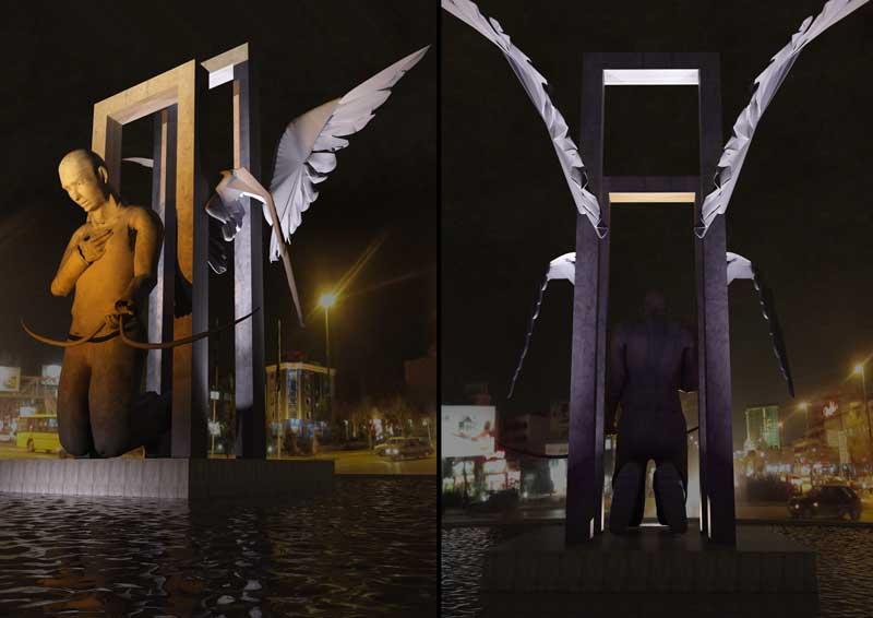 طراحی اولیه نورپردازی میدان پانزده خرداد مشهد-استفاده از نور آبی به عنوان پس زمینه در جهت القاء حس سرما و تقویت تاثیر نورهای دیگر